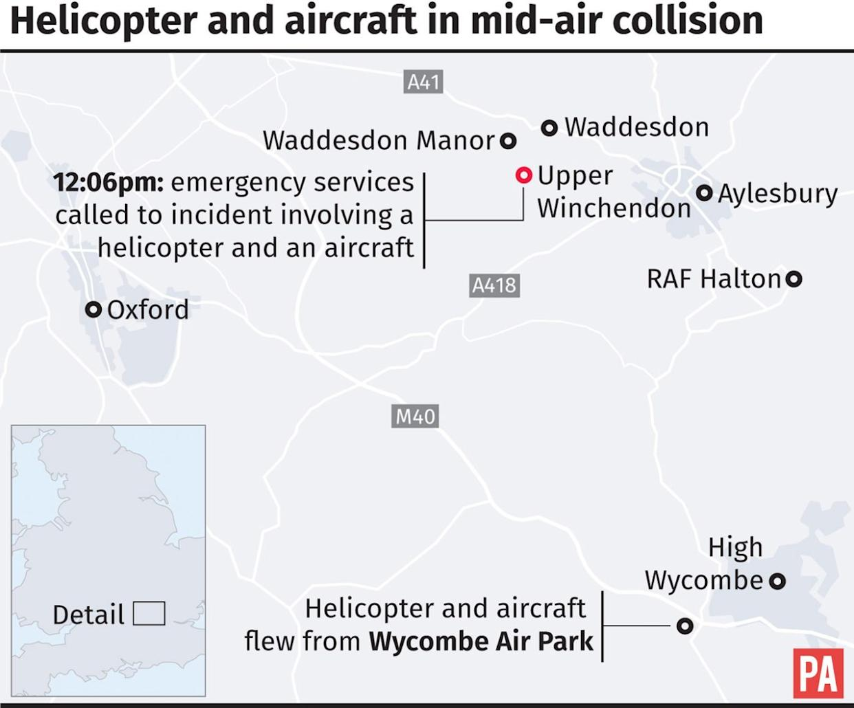 Key locations in the mid-air collision between a helicopter and an aircraft
