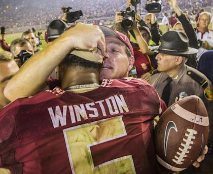 Florida State coach Jimbo Fisher's over-the-top defense of Jameis Winston has rubbed a lot of folks the wrong way. (AP)