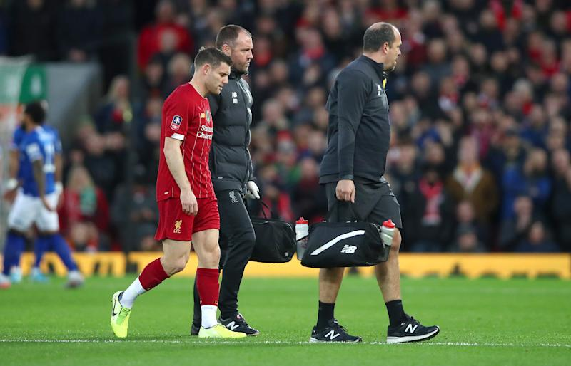James Milner of Liverpool leaves the pitch with an injury during the FA Cup Third Round match between Liverpool and Everton at Anfield. (Photo by Clive Brunskill/Getty Images)