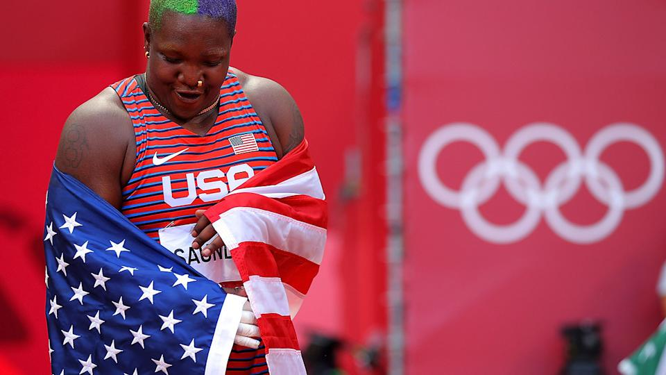 Raven Saunders, pictured here after the women's shot put final at Tokyo 2020 Olympics.