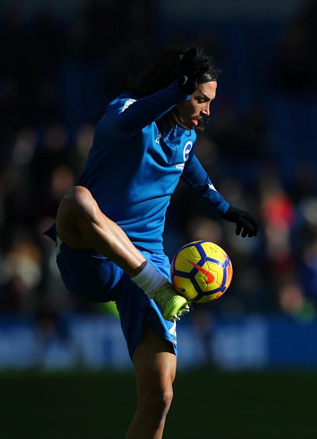 "Soccer Football - Premier League - Brighton & Hove Albion vs Swansea City - The American Express Community Stadium, Brighton, Britain - February 24, 2018 Brighton's Ezequiel Schelotto during the warm up before the match REUTERS/Hannah McKay EDITORIAL USE ONLY. No use with unauthorized audio, video, data, fixture lists, club/league logos or ""live"" services. Online in-match use limited to 75 images, no video emulation. No use in betting, games or single club/league/player publications. Please contact your account representative for further details."