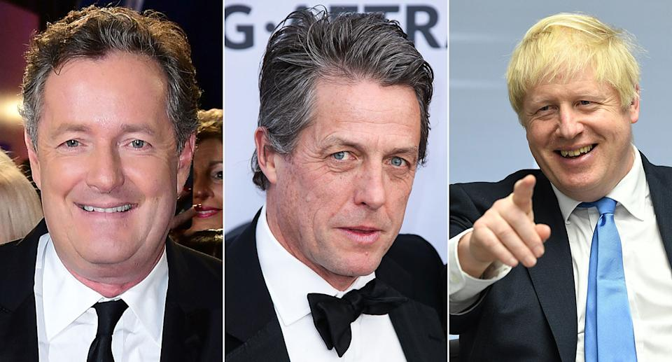Piers Morgan weighed in after Hugh Grant launched an expletive-laden rant at Boris Johnson (Pictures: PA)