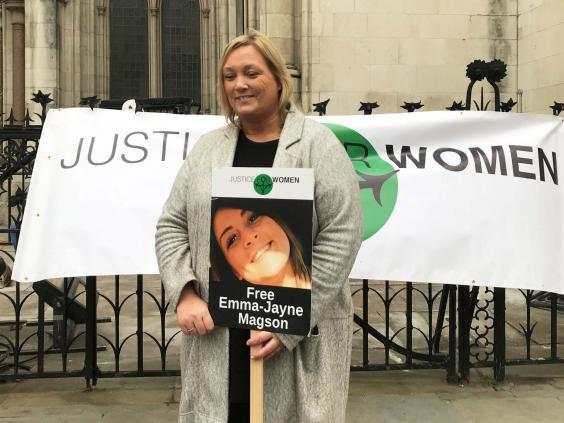 Emma-Jayne Magson's mother Joanne Smith outside the Royal Courts of Justice ahead of her daughter's appeal (PA)