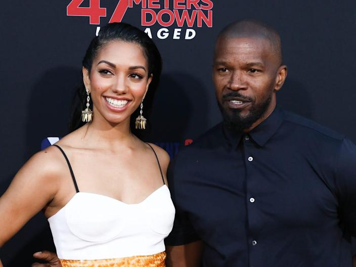 """Actors Corinne Foxx (L) and Jamie Foxx (R) attend the LA premiere of """"47 Meters Down Uncaged"""" the at Regency Village Theatre on August 13, 2019 in Westwood, California. (Photo by Paul Archuleta/FilmMagic)"""