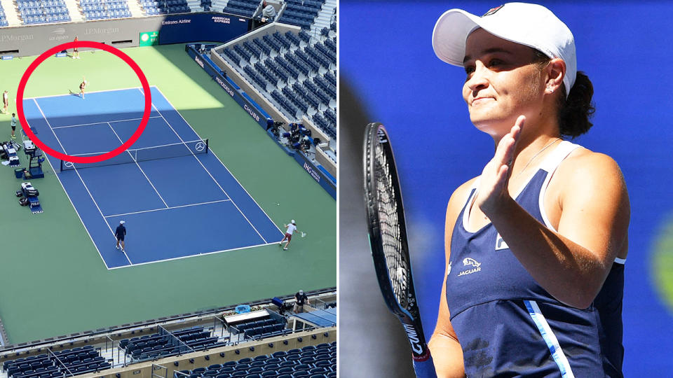 Ash Barty, pictured here on the practice court with Iga Swiatek before her victory in the second round of the US Open.