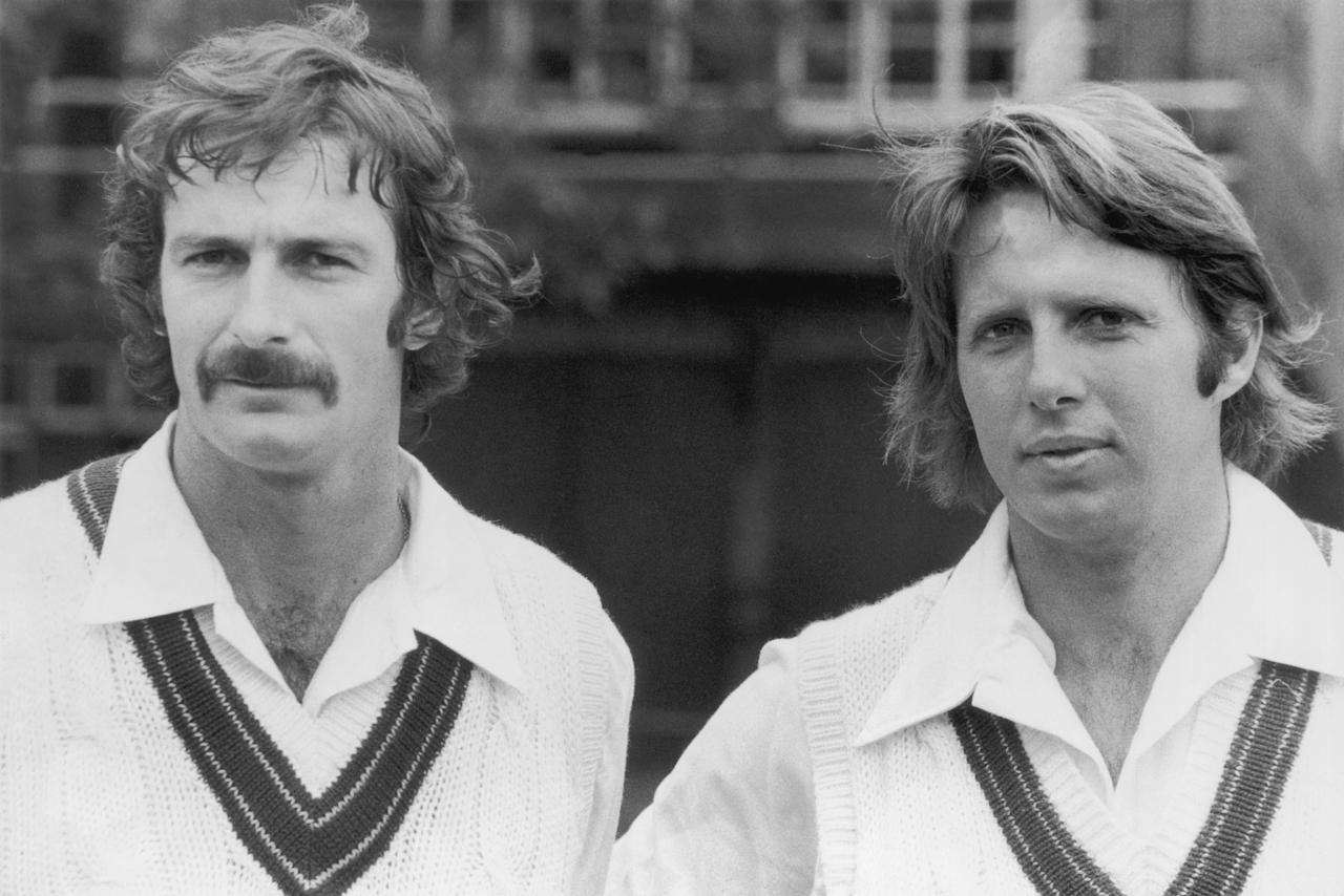 Australian fast bowlers Dennis Lillee (left) and Jeff Thomson at Lords for their first net practice in London, 30th May 1975. (Photo by Peter Cade/Central Press/Hulton Archive/Getty Images)