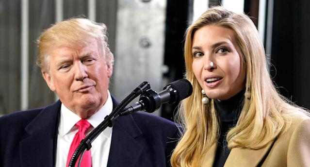 Ivanka Trump speaks next to her father, President Trump, following a tour of the H&K Equipment Company in Coraopolis, Pa., in January. (Mandel Ngan/AFP/Getty Images)