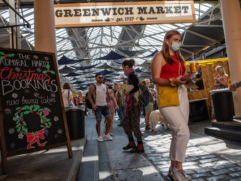 Shoppers in Greenwich Market, London, on SundayGetty Images