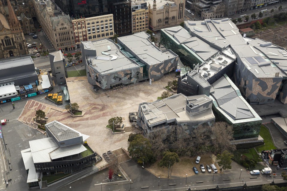 MELBOURNE, AUSTRALIA - AUGUST 26: An aerial view of Federation Square on August 26, 2020 in Melbourne, Australia. Melbourne is in stage four lockdown for six weeks until September 13 after sustained days of high new COVID-19 cases. (Photo by Daniel Pockett/Getty Images)
