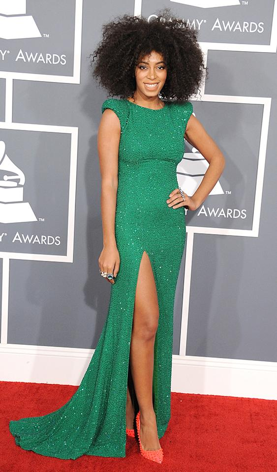 LOS ANGELES, CA - FEBRUARY 10:  Solange Knowles arrives at the The 55th Annual GRAMMY Awards on February 10, 2013 in Los Angeles, California.  (Photo by Steve Granitz/WireImage)