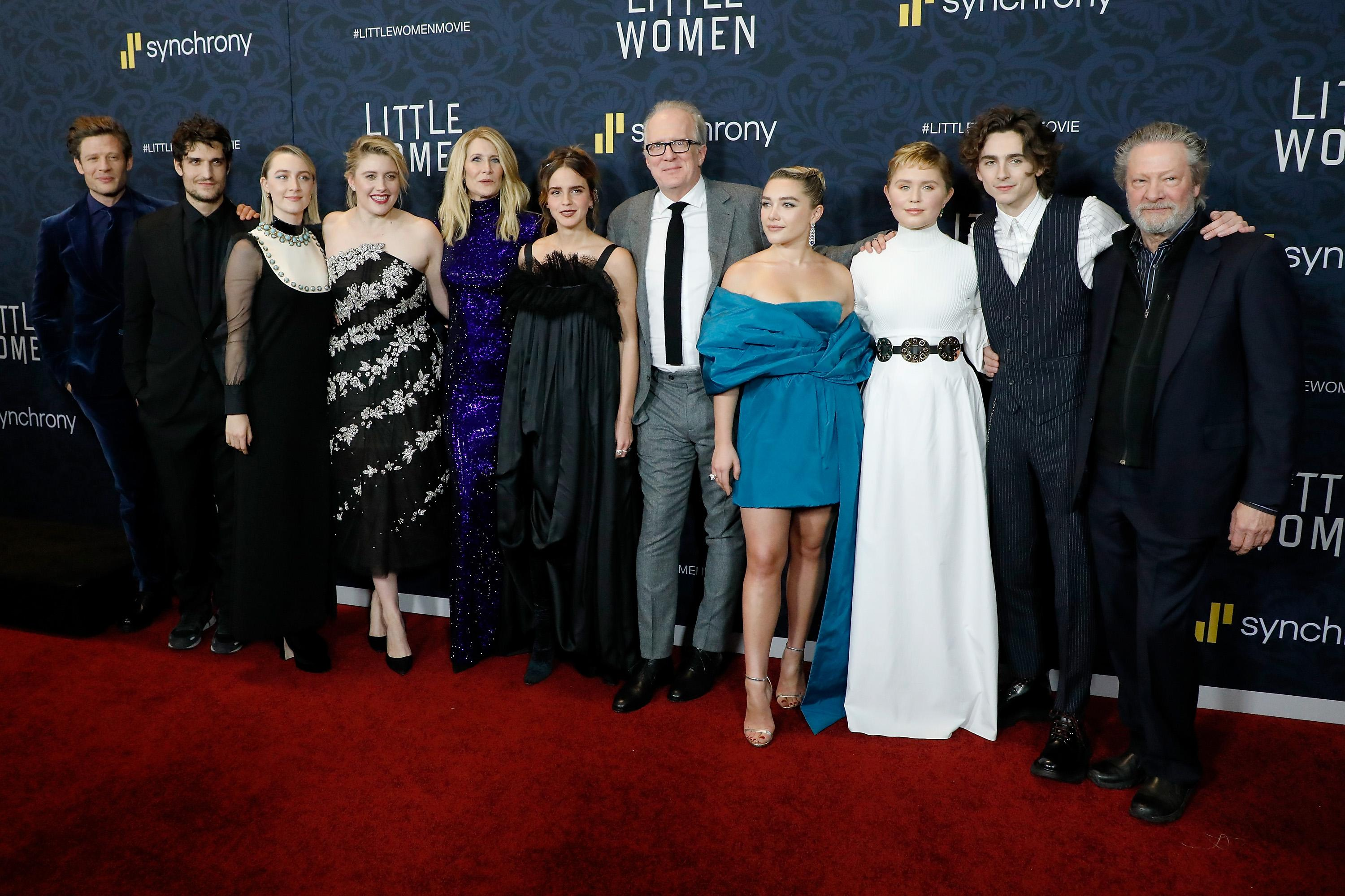 Left to right, James Norton, Louis Garrel, Saoirse Ronan, Greta Gerwig, Laura Dern, Emma Watson, Tracy Letts, Florence Pugh, Eliza Scanlen, Timothee Chalamet and Chris Cooper attend the world premiere of 'Little Women'. [Photo: Getty]