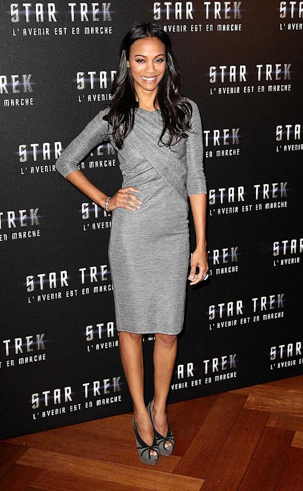 "Zoe Saldana was all smiles upon arriving at a Parisian press conference for ""Star Trek"" in a sophisticated 3/4 length sleeved dress and sassy black-trimmed peep toes. KCSPresse/<a href=""http://www.splashnewsonline.com"" target=""new"">Splash News</a> - April 14, 2009"