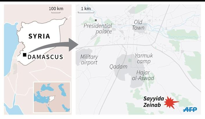 Map locating the Sayyida Zeinab Shiite shrine just south of Damascus, the target of deadly bomb attacks Sunday. (AFP Photo/)