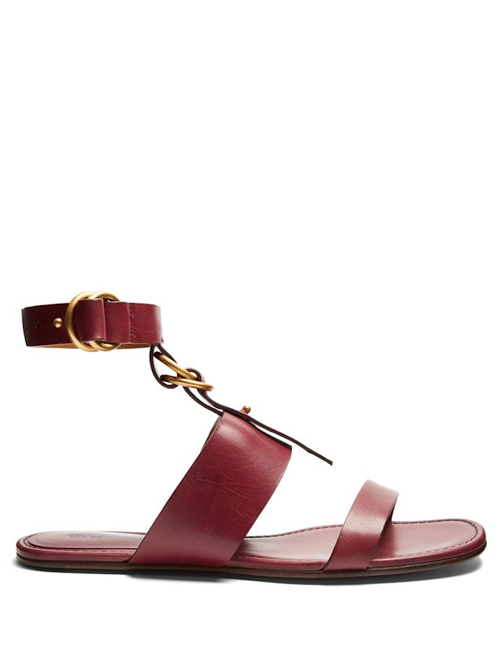 "<p>Chloe Flat Sandals, <a rel=""nofollow"" href=""http://www.matchesfashion.com/us/products/Chlo%C3%A9-Kingsley-leather-flat-sandals-1073478?mbid=synd_yahoolife"">matchesfashion.com</a>, $680</p>"