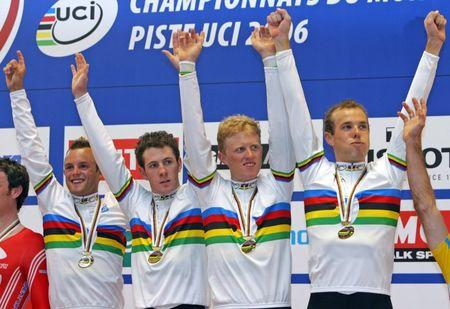 Australia's pursuit team celebrate their gold medal at track cycling world championships in Bordeaux