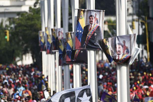 PHOTO: Posters depicting Venezuelan President Nicolas Maduro are seen during a May Day rally in Caracas on May 1, 2019. (Juan Barreto/AFP/Getty Images)