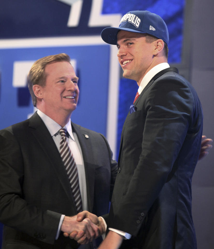 Stanford tight end Coby Fleener reacts after being selected 34th overall in the second round of the NFL football draft at Radio City Music Hall, Friday, April 27, 2012, in New York. (AP Photo/John Minchillo)