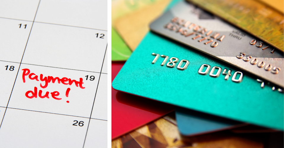 Calendar with reminder to make a payment and a stack of credit cards.
