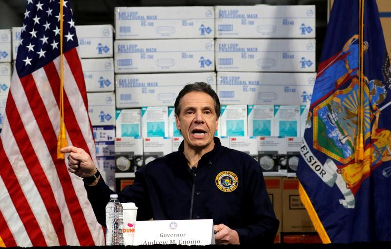 New York Governor Andrew Cuomo speaks in front of stacks of medical protective supplies during a news conference at the Jacob K. Javits Convention Center which will be partially converted into a temporary hospital during the outbreak of the coronavirus disease (COVID-19) in New York City, New York, U.S., March 24, 2020. (Mike Segar/Reuters)