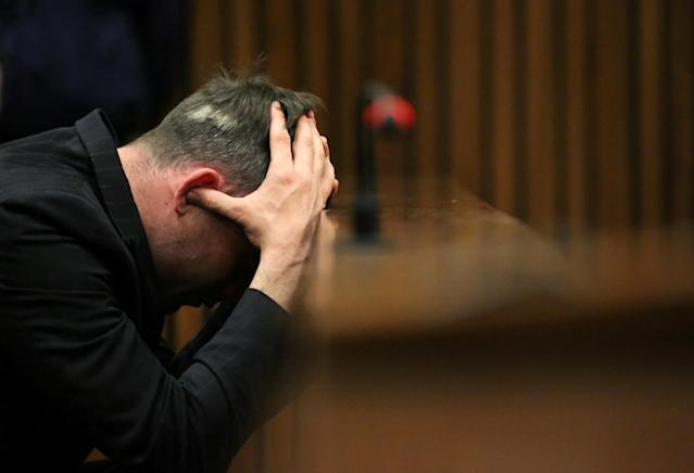 Paralympic gold medalist Oscar Pistorius reacts during the third day of the resentencing hearing for the 2013 murder of his girlfriend Reeva Steenkamp, at Pretoria High Court, South Africa June 15, 2016. REUTERS/Siphiwe Sibeko