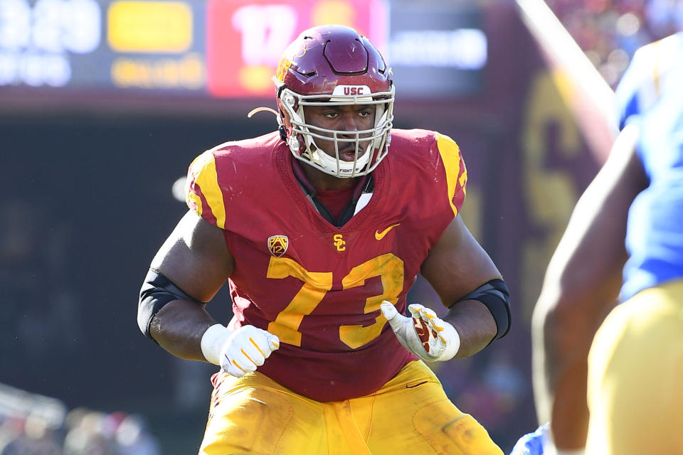 USC offensive lineman Austin Jackson could use a good positional workout at the combine. (Photo by Brian Rothmuller/Icon Sportswire via Getty Images)