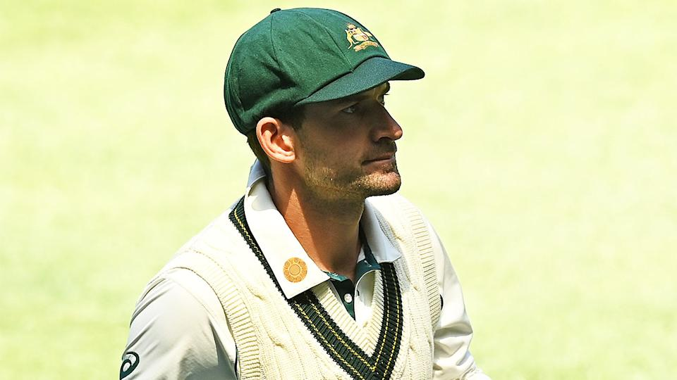 Joe Burns walking off the field after the Test match against India.