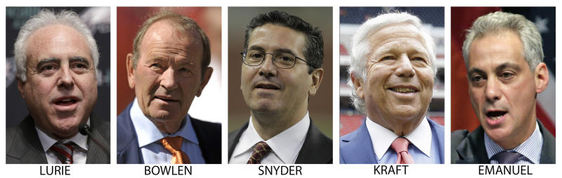 FILE - From left are file photos showing Philadelphia Eagles owner Jeffrey Lurie in 2013, Denver Broncos owner Pat Bowlen in 2013, Washington Redskins owner Dan Snyder in 2010, New England Patriots owner Robert Kraft in 2013, and Chicago Mayor Rahm Emanuel in 2013. This year's Super Bowl might be just the beginning of cold-weather big games for the NFL. Boston, Philadelphia, Chicago _ all major cities with outdoor venues that could host the event that is a Super Bowl Week _ could be lining up for their chance to be in the spotlight as a new era in the NFL is about to dawn. (AP Photo/File)