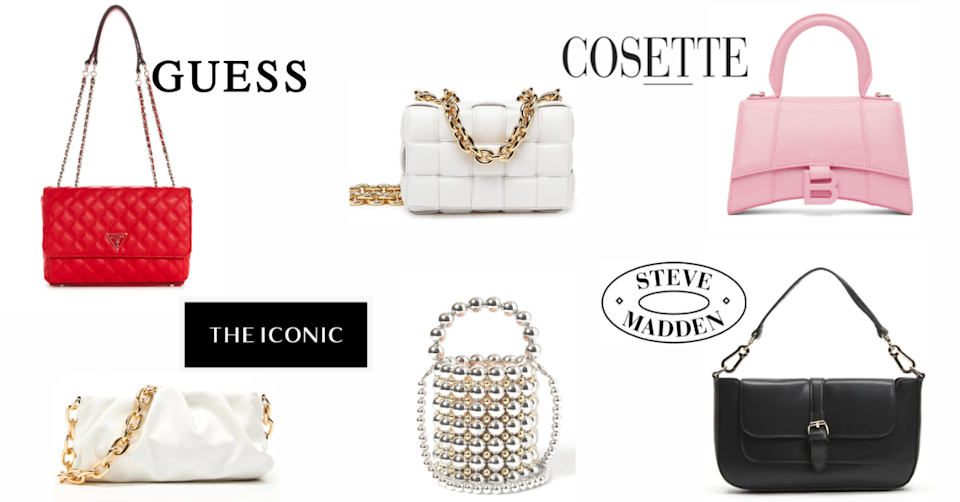 A stunning selection of handbags to choose from this National Handbag Day. Photo: Guess/The Iconic/Cosette