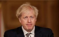 FILE PHOTO: Britain's Prime Minister Boris Johnson holds a news conference about the ongoing situation with the coronavirus disease (COVID-19) pandemic, in London