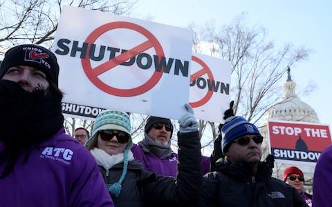 Federal air traffic controller union members protest the partial U.S. federal government shutdown in a rally at the US Capitol in Washington DC - Credit: Jonathan Ernst /REUTERS