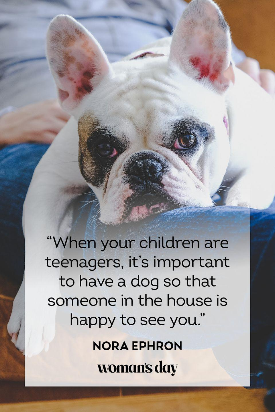 """<p>""""When your children are teenagers, it's important to have a dog so that someone in the house is happy to see you.""""</p>"""