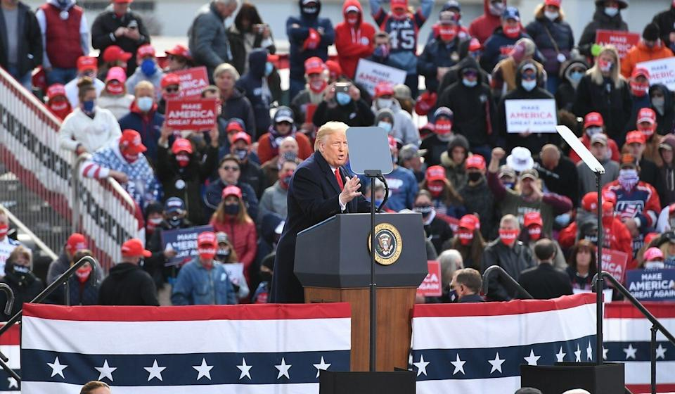 US President Donald Trump ata campaign rally at Manchester-Boston Regional Airport in Londonderry, New Hampshire on Sunday. Photo: AFP