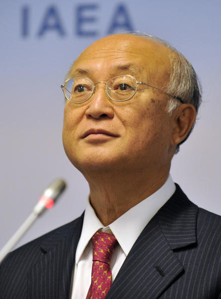 """Director General of the International Atomic Energy Agency, IAEA, Yukiya Amano of Japan listens to a reporter's question during a news conference after the IAEA board of governors meeting at the International Center in Vienna, Austria, on Monday, Sept. 9, 2013. Diplomats say that Russia is pressing the U.N. atomic agency to report on the nuclear risk of air strikes on Syria in efforts to stave off possible U.S. attack. A confidential letter from the Russian foreign ministry to Amano obtained by The Associated Press Monday warns of the """"catastrophic"""" consequences of a strike on a research reactor near Damascus. (AP Photo/Hans Punz)"""