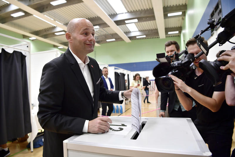 Danish Minister of Justice and leader of The Conservative Party, Soeren Pape Poulsen, cast his vote at a polling station in Copenhagen, Denmark, Wednesday June 5, 2019, during parliamentary elections. (Bo Amstrup / Ritzau Scanpix via AP)