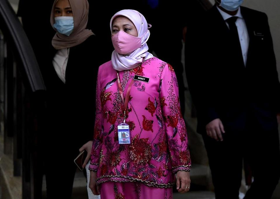 Tourism, Arts and Culture Minister Datuk Seri Nancy Shukri is seen at the Parliament building in Kuala Lumpur August 6, 2020. — Bernama pic