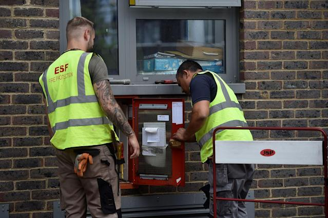 <p>Workmen inspect safty equipment at the Dorney Tower residential block, after residents were evacuated as a precautionary measure following concerns over the type of cladding used on the outside of the buildings on the Chalcots Estate in north London, Britain, June 26, 2017. (Photo: Hannah McKay/Reuters) </p>