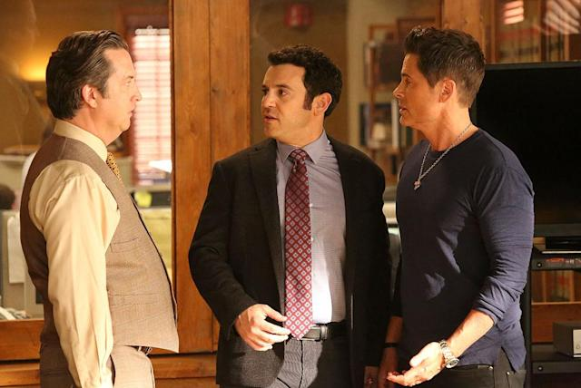 From left, Steve Little, Fred Savage, and Rob Lowe star in the final episode of <em>The Grinder</em>. (Photo: Fox via Getty Images)