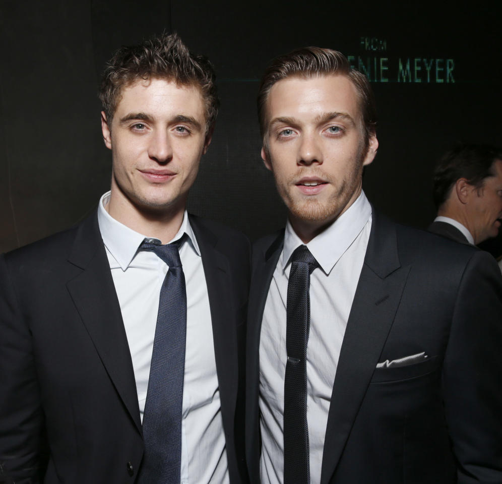 "Max Irons and Jake Abel attend the after party for the LA premiere of ""The Host"" at the ArcLight Hollywood on Tuesday, March 19, 2013 in Los Angeles. (Photo by Todd Williamson/Invision/AP)"