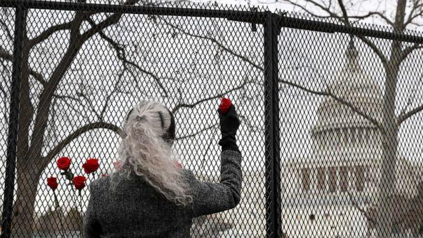 PHOTO: Patty Raine places roses in the fence near the Capitol Building.  Mrs. Raine said she was placing the roses in the fence to represent a gesture of peace among the American people , Jan. 8, 2020. (Joe Raedle/Getty Images)