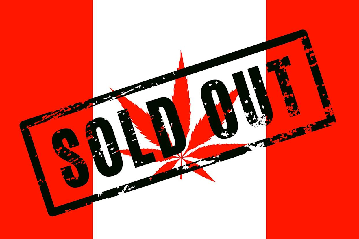 A Canadian flag with a cannabis leaf that has the words, sold out, stamped across the flag.