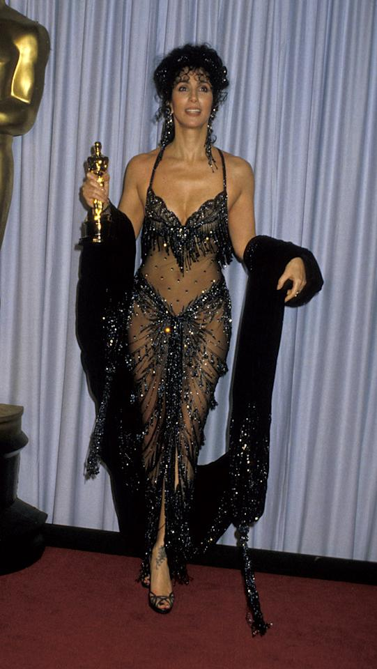 "60th Annual Academy Awards (1988)    Fun fact: Cher's longtime collaborator, designer Bob Mackie -- who created the barely-there dress she wore the night she won an Oscar for her role in <a href=""http://movies.yahoo.com/movie/1800096952/info"">Moonstruck</a> -- once said of the star: ""She could wear anything. She was like a big Barbie doll."""