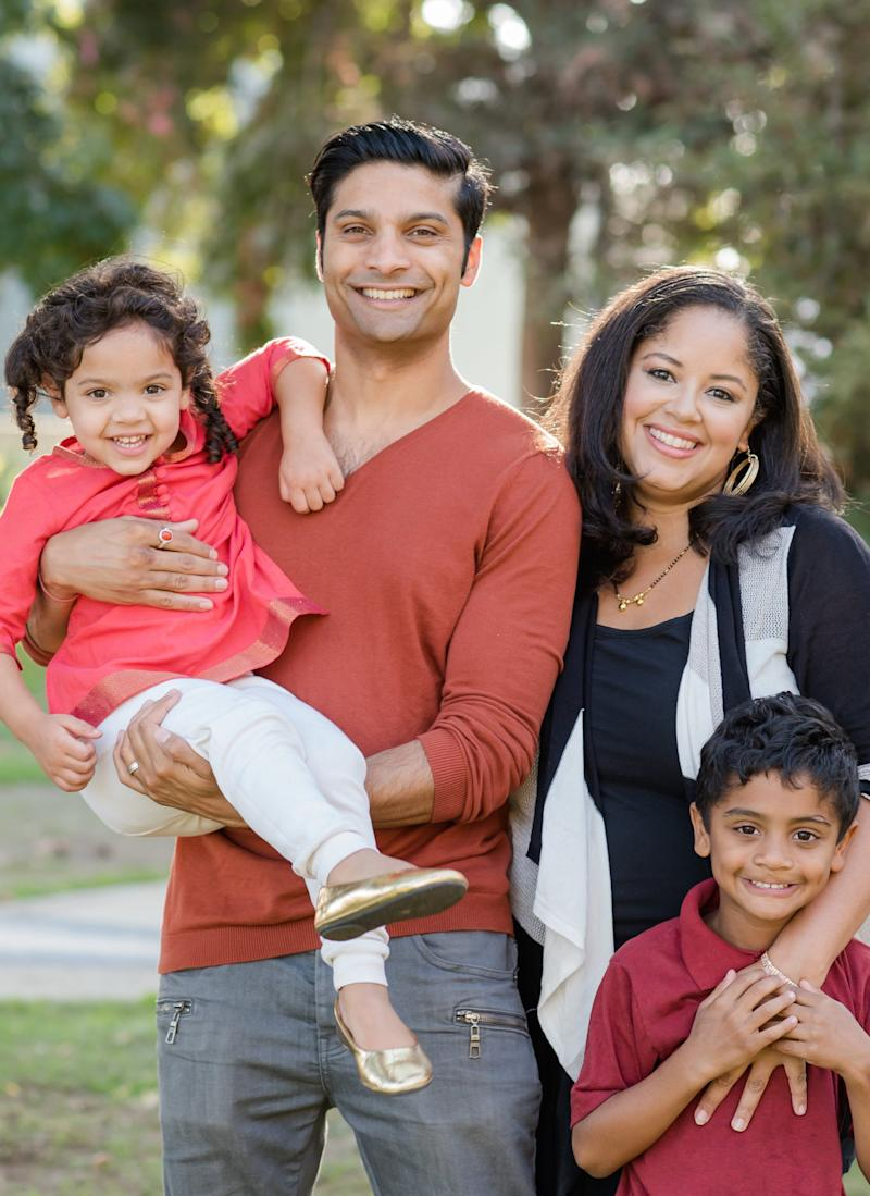 Nancy with her husband, actor Rupak Ginn, and their two children, August, six, and Nancy, four