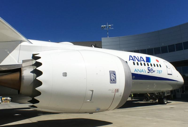 A Rolls-Royce engine is seen on a Boeing 787-9 Dreamliner owned by ANA Holdings Inc. in Everett