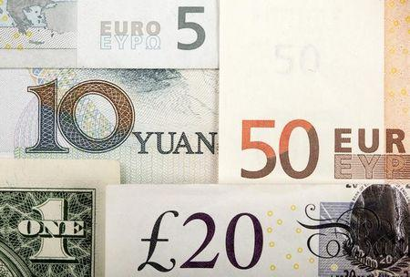 Arrangement of various world currencies including Chinese Yuan, US Dollar, Euro, British Pound