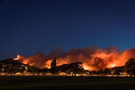 Wildfires threaten a suburb of Christchurch on New Zealand's South Island taken after sunset
