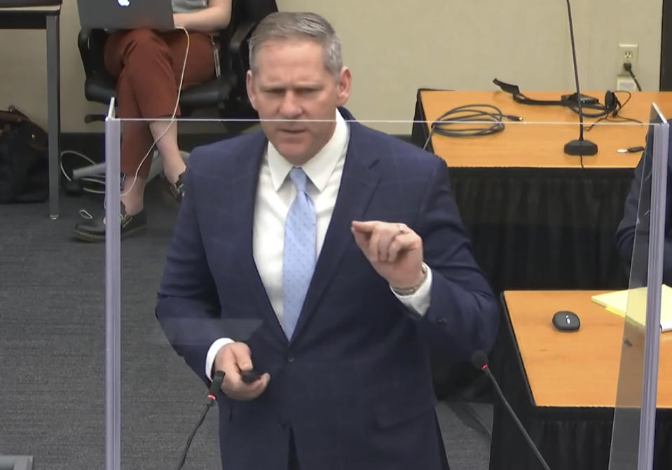 In this image from video, prosecutor Steve Schleicher gives closing arguments as Hennepin County Judge Peter Cahill presides Monday, April 19, 2021, in the trial of former Minneapolis police Officer Derek Chauvin at the Hennepin County Courthouse in Minneapolis. Chauvin is charged in the May 25, 2020 death of George Floyd. (Court TV via AP, Pool)