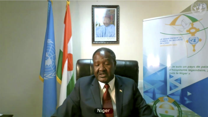 In this image made from UNTV video, Niger's Minister of Health Idi Illiassou Mainassara speaks during a U.N. Security Council high-level meeting on COVID-19 recovery focusing on vaccinations, chaired by British Foreign Secretary Dominc Raab, Wednesday, Feb. 17, 2021. (UNTV via AP)