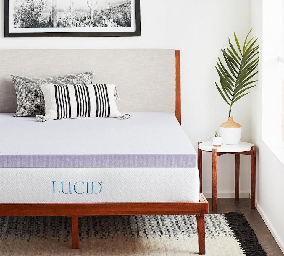 """<h3>Lucid Lavender Infused Memory Foam Mattress Topper</h3><br><strong>Best For: Serene Sleep</strong><br>What sets this three-inch memory foam topper apart from the rest? A subtle lavender-scent infusion that promotes an even calmer, cozier, and supportive sleep space.<br><br><strong>The Hype: 4.5 out of 5 stars</strong><br><br><strong>Sleepers Say:</strong> """"100% worth it! I have degenerative disc disease and arthritis in my neck that causes back and shoulder pain. I needed to buy a new mattress which couldn't have been worse timing that I was also strapped for cash and I 'splurged' on a not so comfy spring mattress for a whopping $200... enter sarcasm here. I just didn't have the funds for a nice one and the springs were killing my back and also leaving sore spots on my hips and shoulders to the point where it felt like I should be covered in bruises. I bought one of these toppers and I haven't slept this well in months. No more pain and the lavender scent is just enough but not overpowering."""" <em>– Learn, Amazon Reviewer</em><br><br><em>Shop <strong><a href=""""https://amzn.to/2HM5Gda"""" rel=""""nofollow noopener"""" target=""""_blank"""" data-ylk=""""slk:Lucid"""" class=""""link rapid-noclick-resp"""">Lucid</a></strong></em><br><br><strong>Lucid</strong> 3"""" Lavender Infused Memory Foam Mattress Topper (Queen), $, available at <a href=""""https://amzn.to/38ZKxZj"""" rel=""""nofollow noopener"""" target=""""_blank"""" data-ylk=""""slk:Amazon"""" class=""""link rapid-noclick-resp"""">Amazon</a>"""