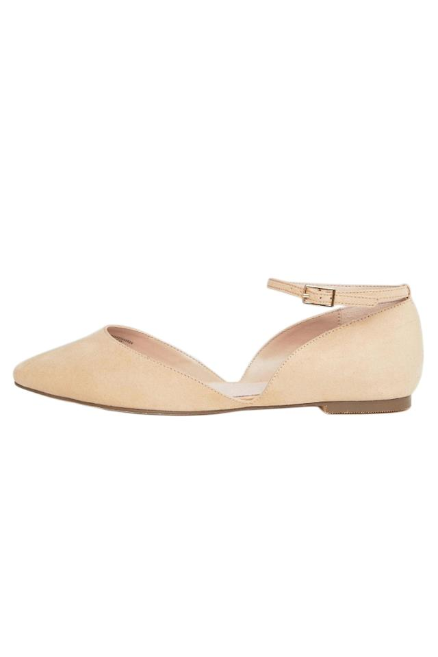 """<p>A sleek ankle strap modernizes the wardrobe staple and a suede-like fabric in a gentle neutral makes this pair highly compatible with a spectrum of colors, including of-the-moment pastels.<br /> <br /> <strong>To buy:</strong> $34, <a rel=""""nofollow"""" href=""""http://click.linksynergy.com/fs-bin/click?id=93xLBvPhAeE&subid=0&offerid=460292.1&type=10&tmpid=20904&RD_PARM1=http%3A%2F%2Fus.asos.com%2Ffaith-wide-fit%2Ffaith-wide-fit-al-ankle-strap-flat-shoes%2Fprd%2F7709038%3Fiid%3D7709038%26affid%3D10607%26transaction_id%3D10208ab5651bf6a5ab334c48ce0d24%26pubref%3D1023&u1=RS7ComfortableBalletFlatsFASRDFeb17"""">asos.com</a>.</p>"""