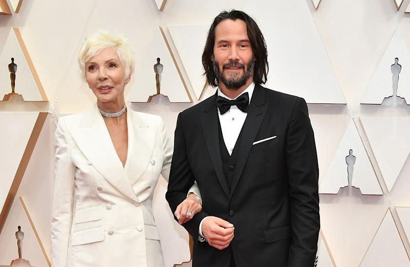 Keanu Reeves with his motherPatricia Taylor at the Oscars on Sunday. (Photo: Amy Sussman via Getty Images)